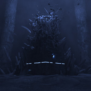 3D concepts underwater temple environment