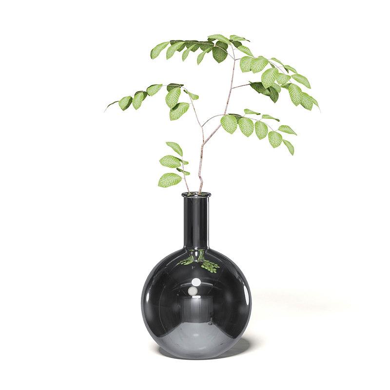 plant chrome vase 3D model