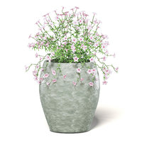 3D model pink flowers ceramic pot