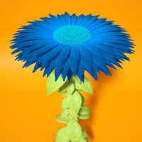 3D model rigged blue flower