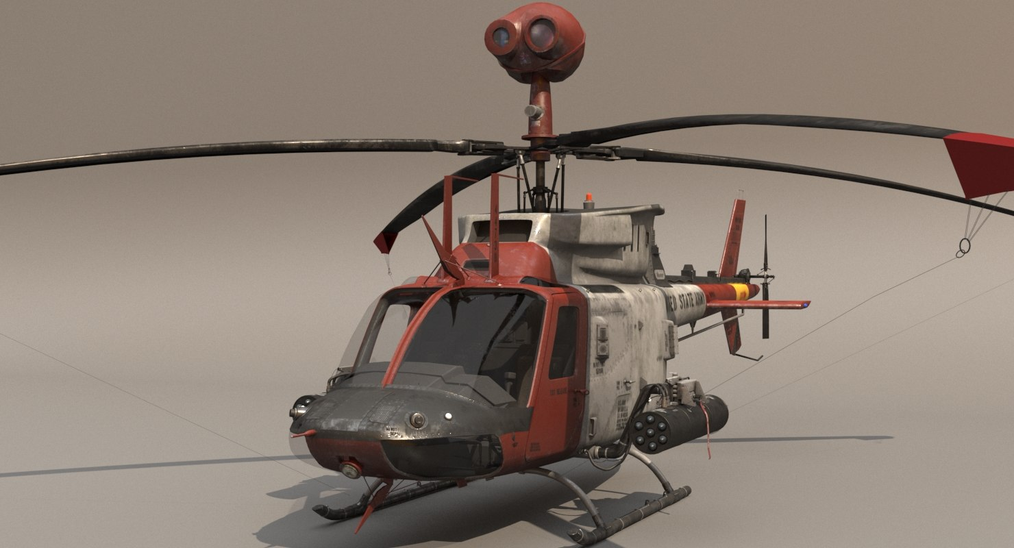 cockpit oh-58d helicopter 3D model