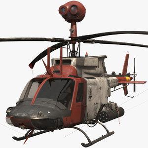 cockpit oh-58d helicopter 3D model