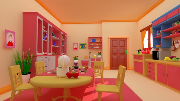 3D kitchen cartoon - asset