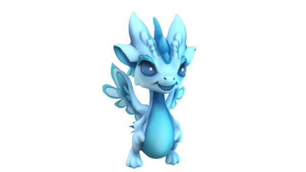 blue cartoon dragon model