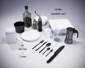 kitchen essentials corona 3D model