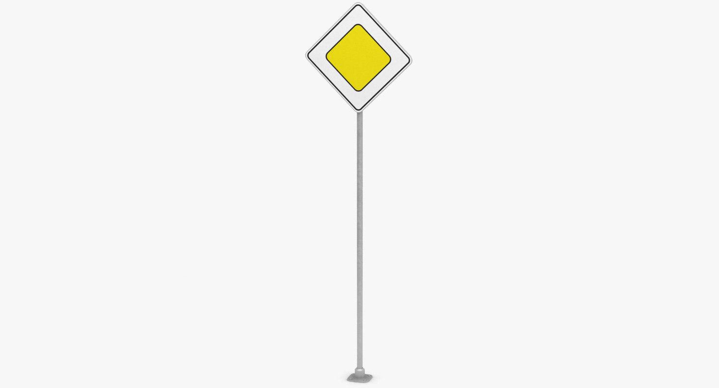 traffic sign main road 3D