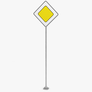 traffic sign main road 3D