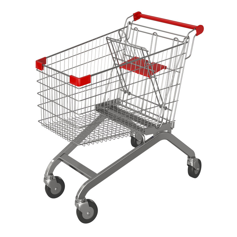 red shopping cart 3D model