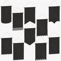 3D model black hanging banners