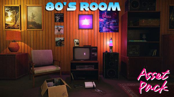 80s living room 3D model