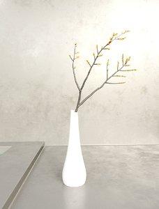 twig vase berries 3D model