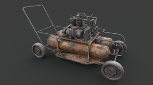 3D rusted machinery device industrial
