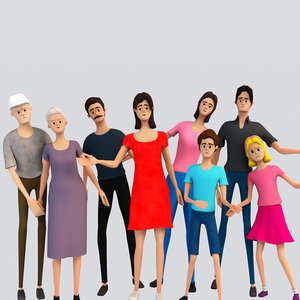 characters rigged woman man 3D