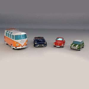 3D cartoon transporter bus