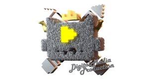 3D model pixel logo 8bits