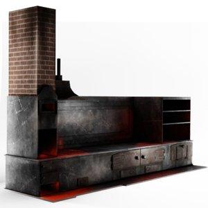3D medieval kitchen model