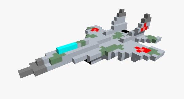 pixelated mig-29 jet fighter 3D model
