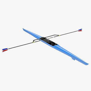 3D model single scull rowing boat