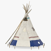 traditional canvas teepee 3D