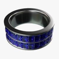 platinum ring sapphires 3D
