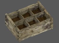 3D old wooden box model
