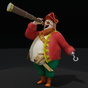 cartoon pirate character 3D model