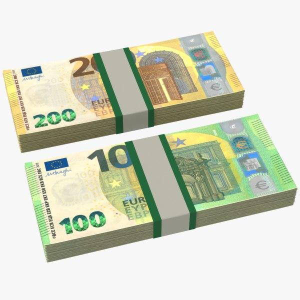 euros bills stacks 3D model