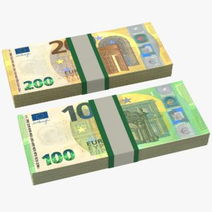 euros bills stacks 3D model