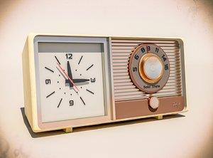 3D model vintage clock radio