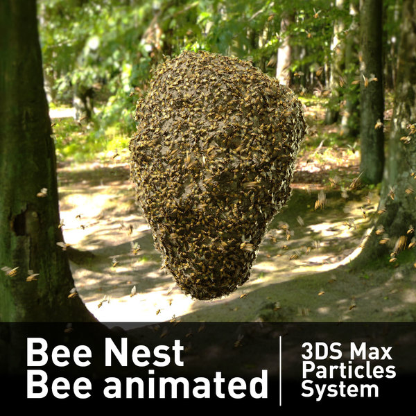 3D particles bee nest flying