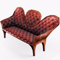 3D victorian sofa old model