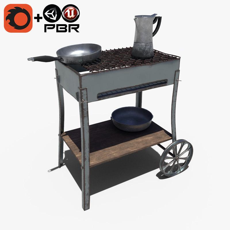 bbq set 3D model
