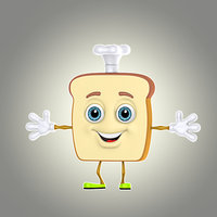 3d cartoon bread model