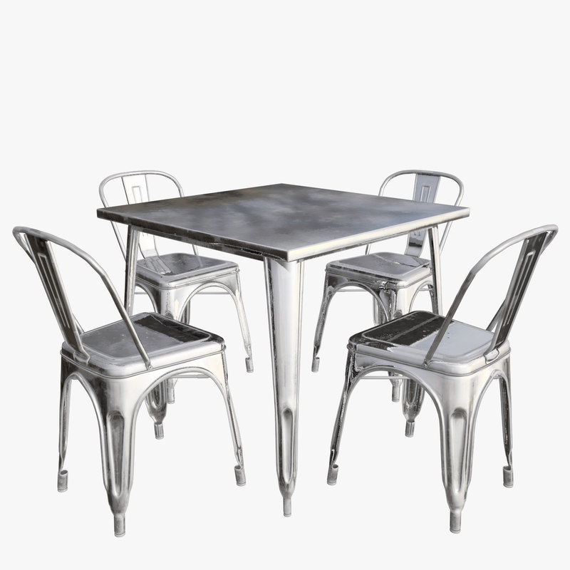 3D model tolix table chair set