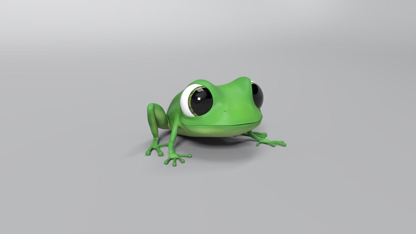 3D cartoon frog