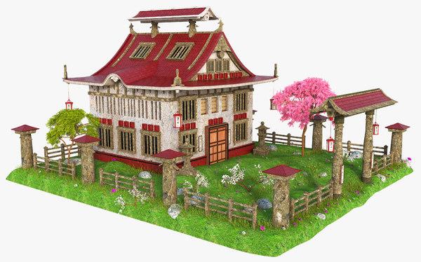 3D asia asian building