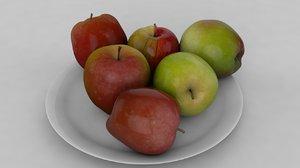 3D apple red green model