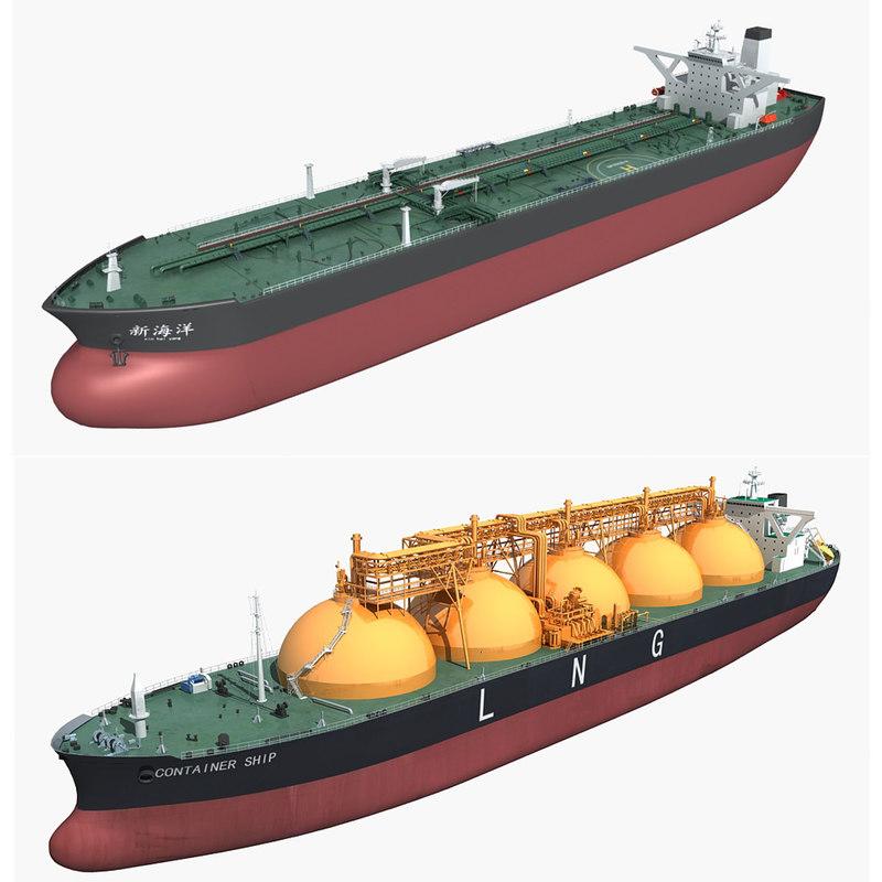 3D cargo ships model