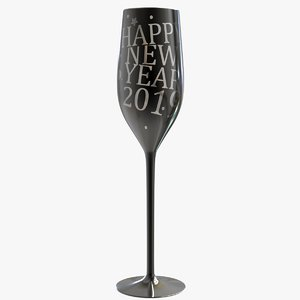 black champagne glass message 3D