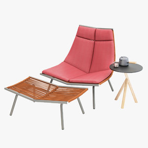 3D model roda laze lounge chair