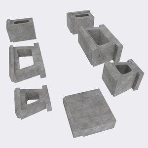 3D concrete landscaping blocks allan model