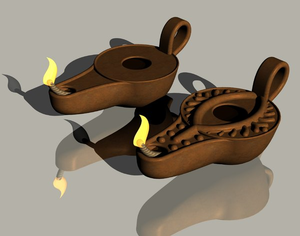 3D model antique oil lamp