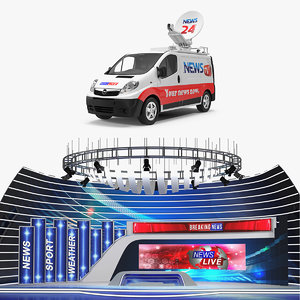 news van studio tv 3D model