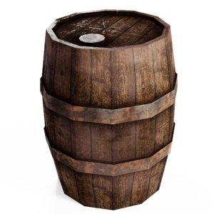 3D cask wooden barrel model
