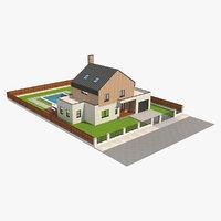 3D modern barn house 5 model