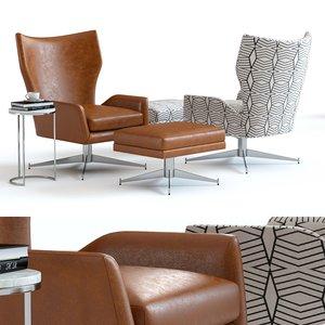 3D model west elm hemming armchair