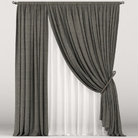 brown tulle curtain 3D
