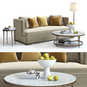 3D bakers social scene sofa model