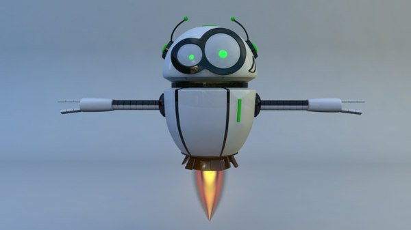 rigged flying robot 3D model