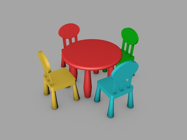 3D kids table chair model